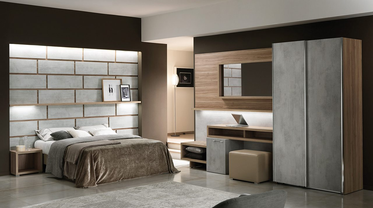 03 Maloja Walnut and Cement Room